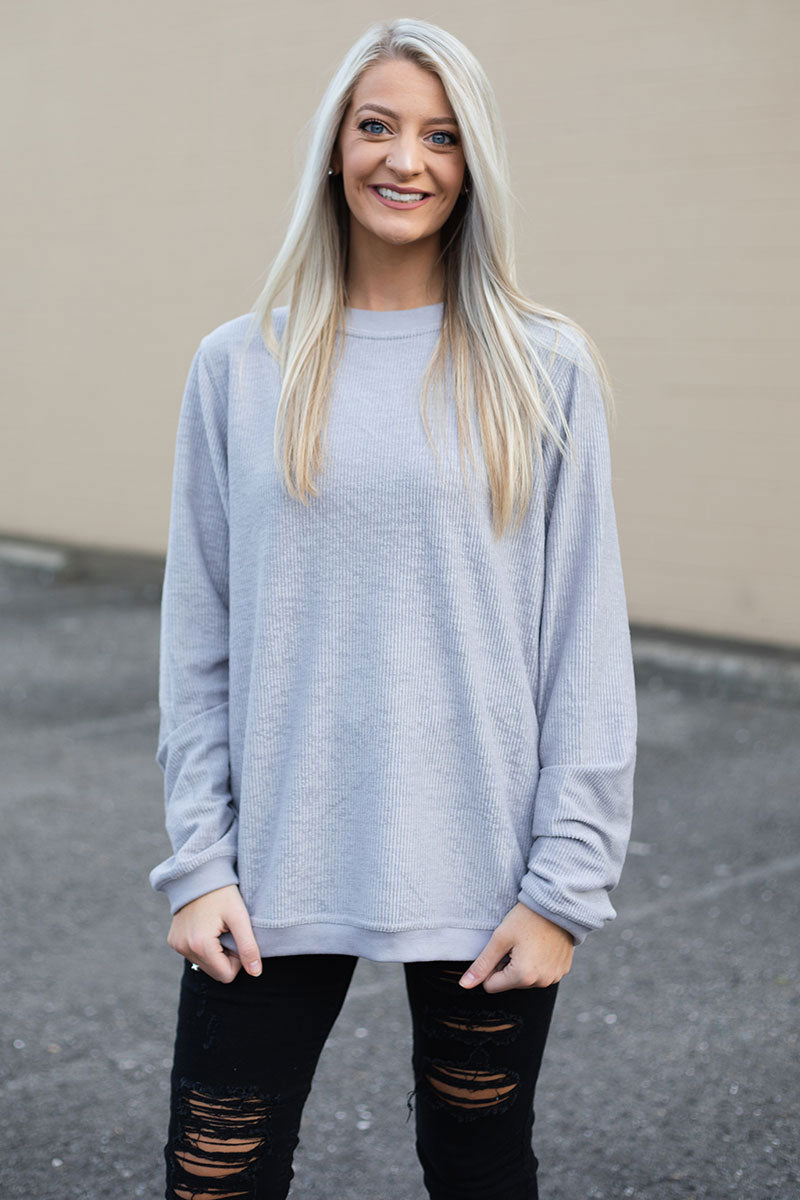 PRE-ORDER* Gray Corded Cozy Crew **EXPECTED SHIP DATE 8/30**