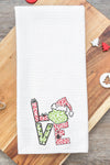 Grinch Love Leopard Waffle Kitchen Towel