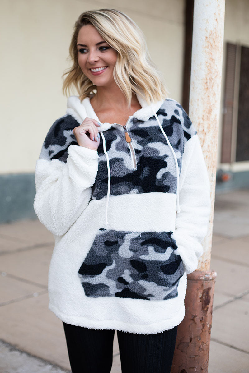 SALE! Camo and Ivory Cuddle Colorblock Hoodie
