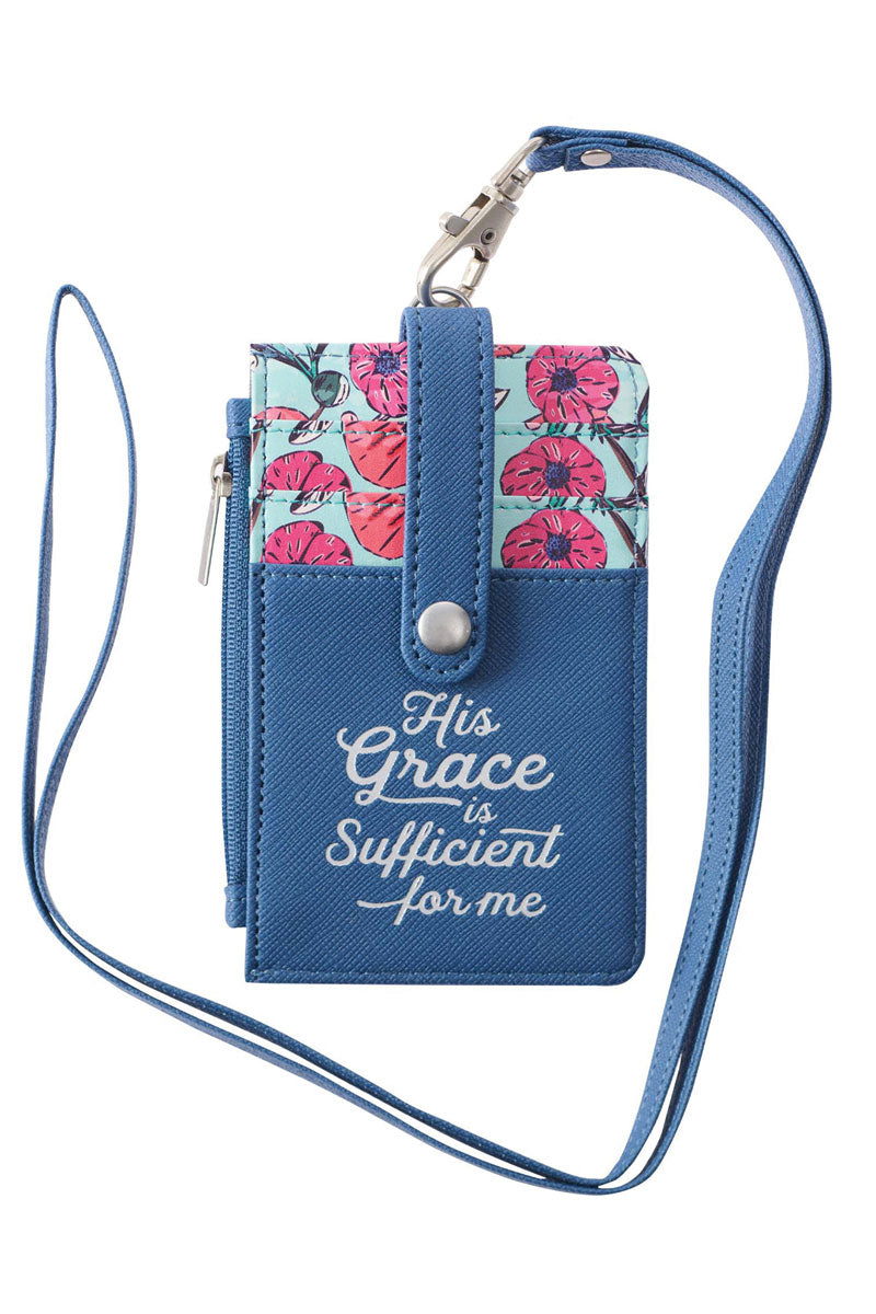 His Grace is Sufficient Faux Leather ID Card Holder Lanyard