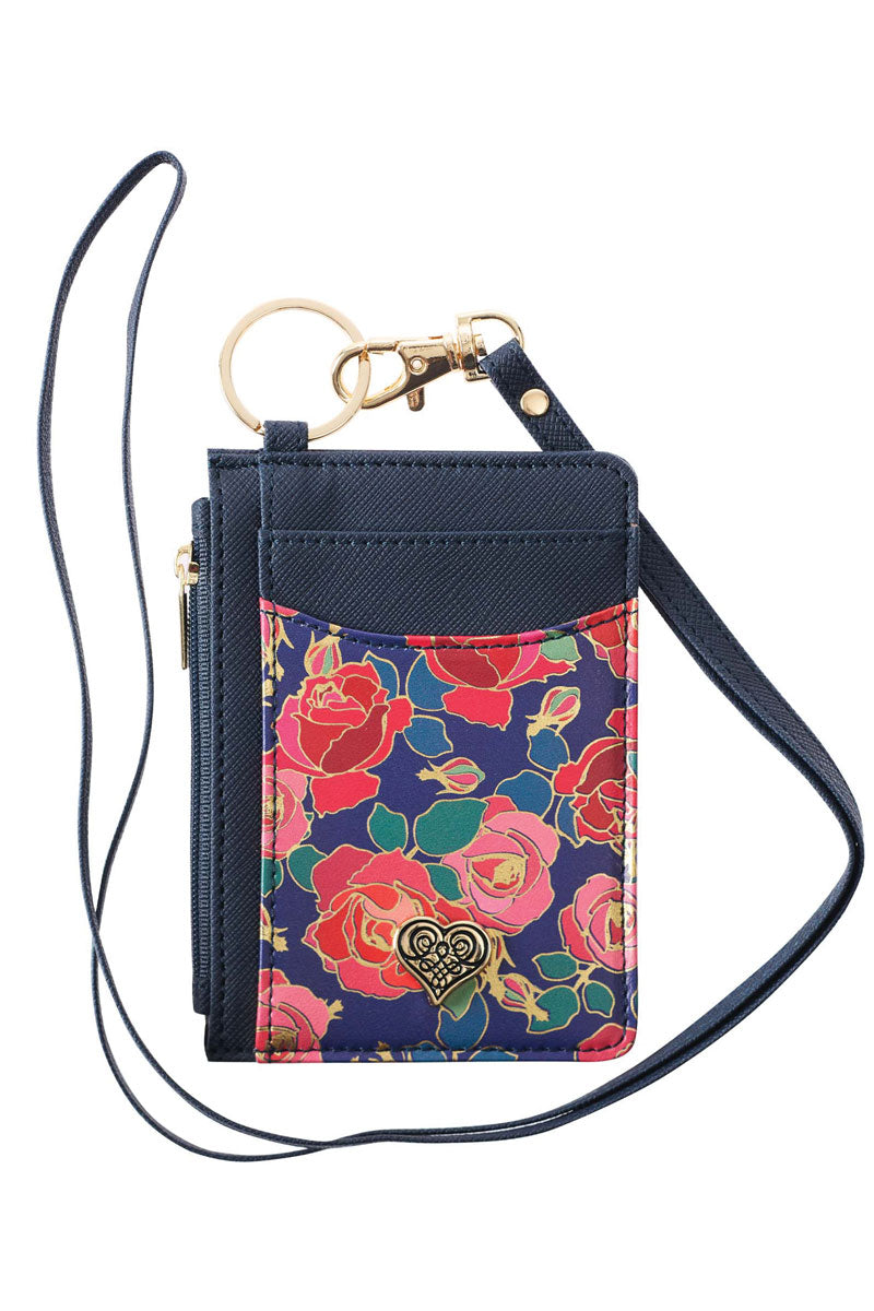 Roses with Heart Emblem Faux Leather ID Card Holder Lanyard