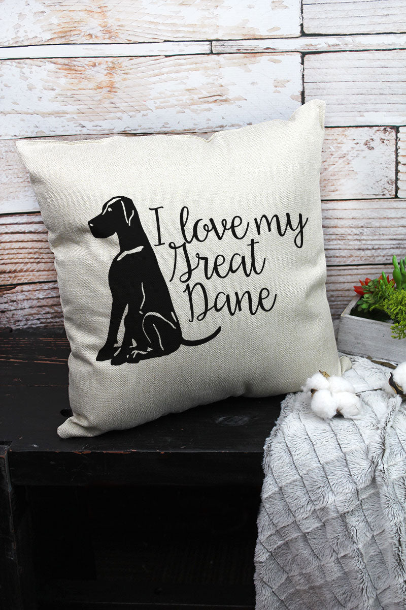 I Love My Great Dane Decorative Pillow Cover