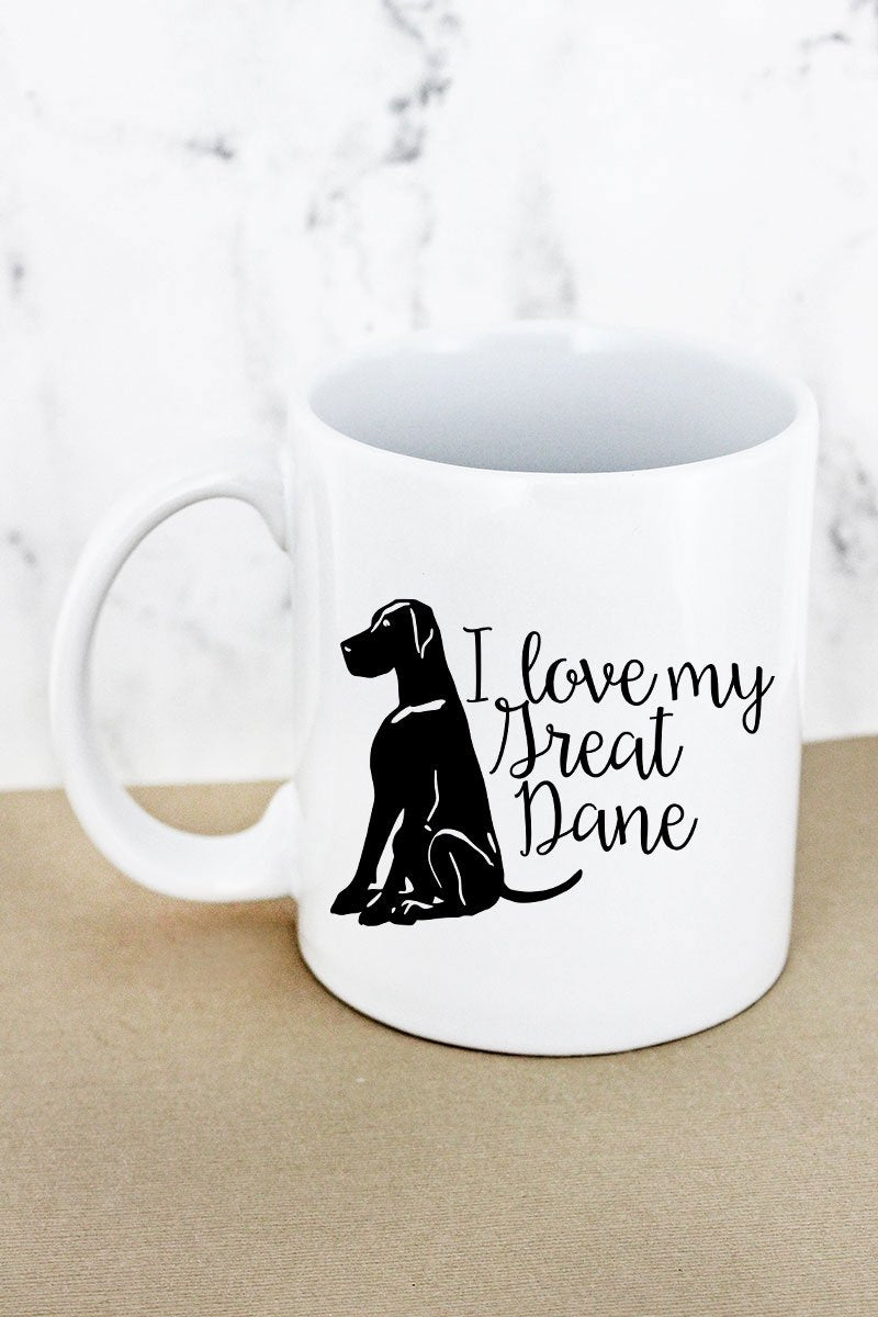 I Love My Great Dane White Mug