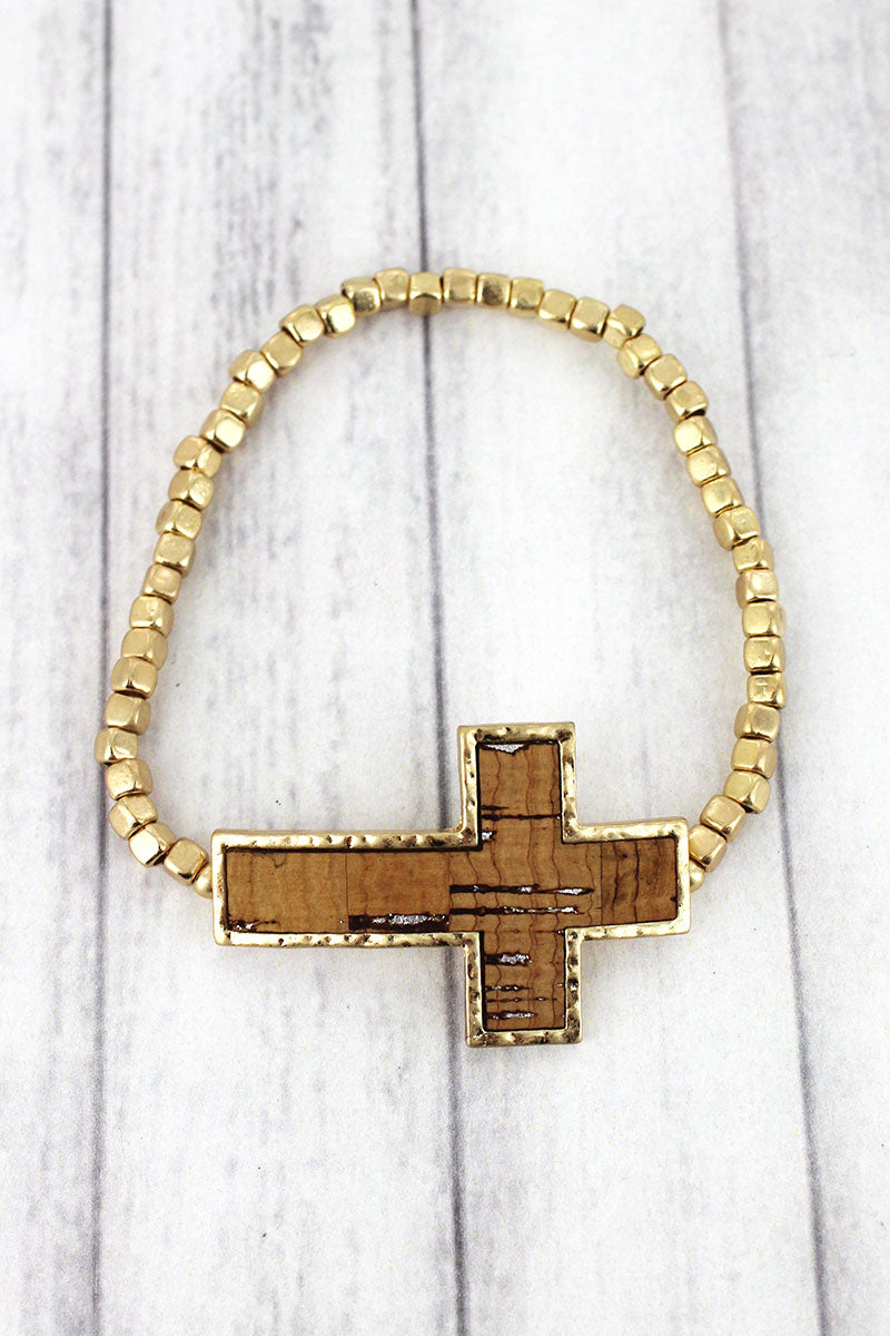 Natural Cork and Goldtone Cross Cube Beaded Bracelet