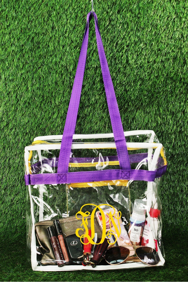 NGIL Clear Stadium Tote Bag with Purple and Yellow Trim