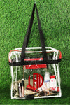 NGIL Clear Stadium Tote Bag with Black and Red Trim