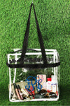 Clear Stadium Tote Bag with Black Trim