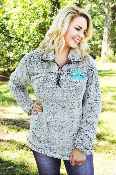 Boxercraft Smoky Gray Sherpa Pullover *Personalize It