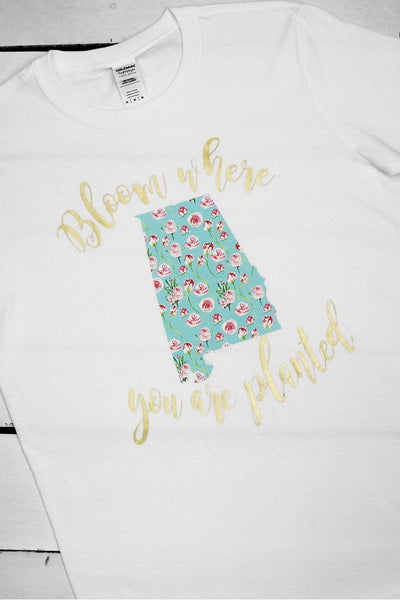 Bloom Where You're Planted Softstyle T-Shirt #G640/64000 *Choose From 11 States (WHOLESALE PRICING N/A) (PLEASE ALLOW 3-5 BUSINESS DAYS. EXPEDITED SHIPPING N/A)
