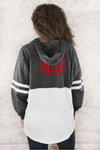 Hooded Pom Pom Jersey, Granite and Red #T18 *Personalize It (PLEASE ALLOW 3-5 BUSINESS DAYS. EXPEDITED SHIPPING N/A) - Wholesale Accessory Market