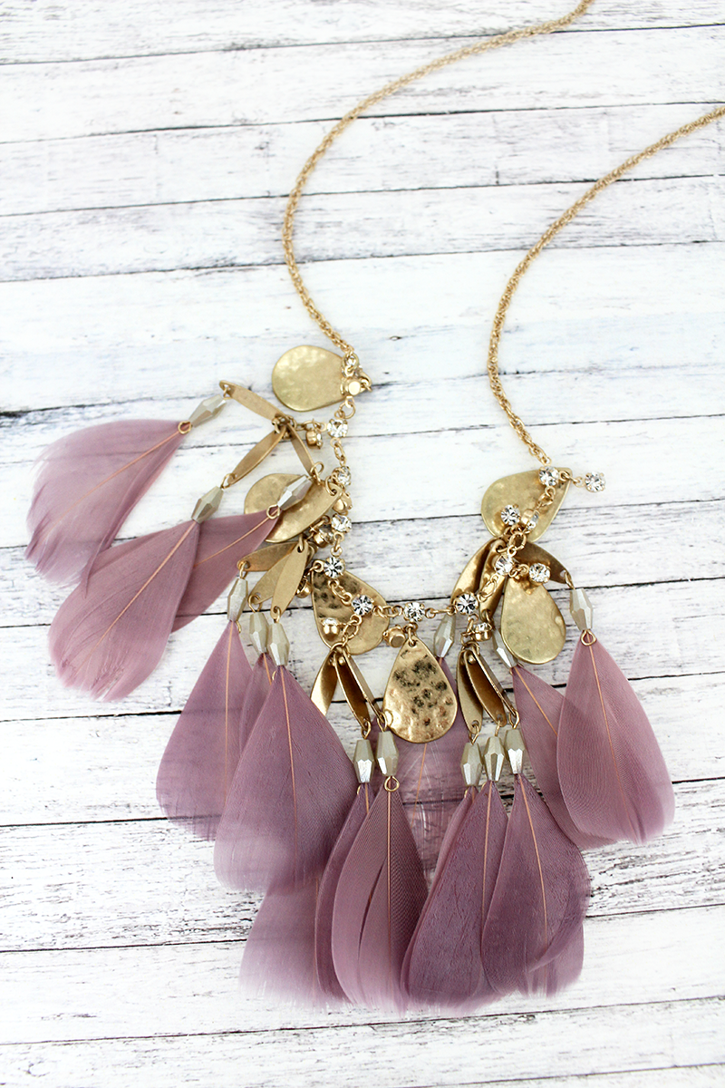 SALE! Crave Goldtone Teardrop and Lavender Feather Charm Necklace