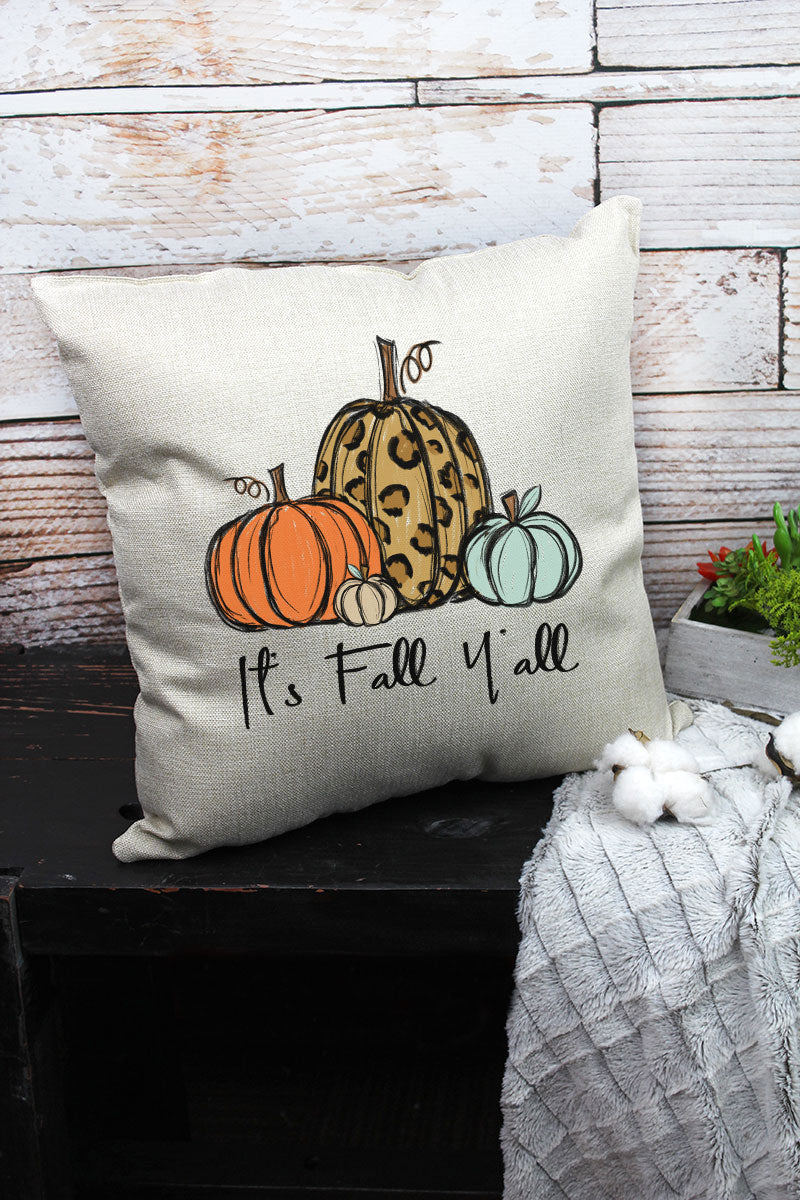 It's Fall Y'all Leopard Pumpkin Trio Decorative Pillow Cover