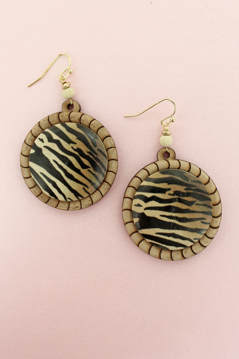 Tiger Wood Disk Earrings