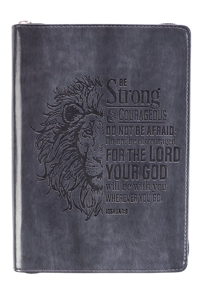 Joshua 1:9 'Strong & Courageous' LuxLeather Zippered Journal