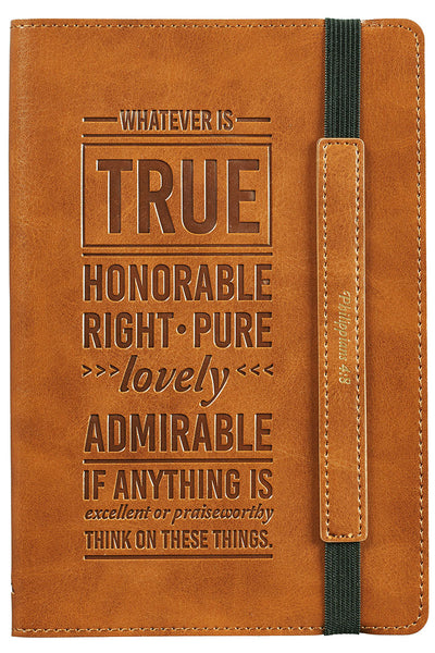 Philippians 4:8 'Whatever Is True' LuxLeather Bullet Journal