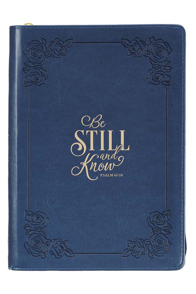 Psalm 46:10 'Be Still And Know' Navy LuxLeather Flexcover Zippered Journal