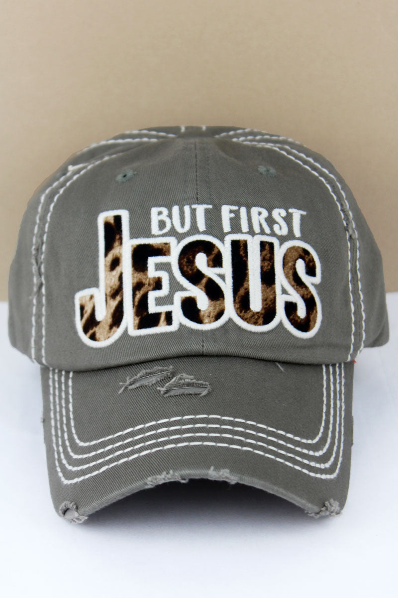 Distressed Steel Gray with Leopard 'But First Jesus' Cap
