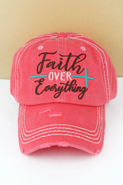 Distressed Salmon 'Faith Over Everything' Cap