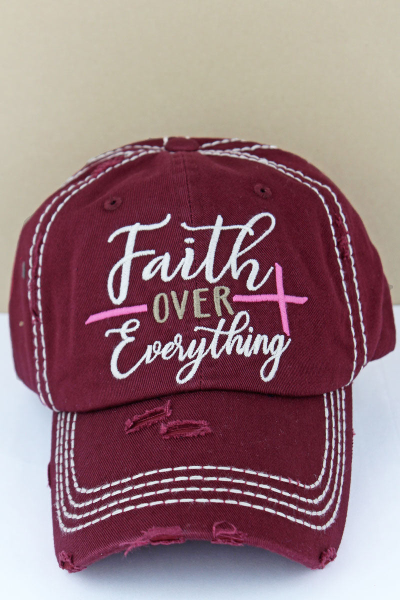 Distressed Maroon 'Faith Over Everything' Cap