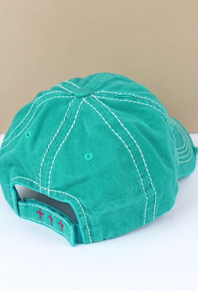 Distressed Turquoise 'Faith Over Everything' Cap
