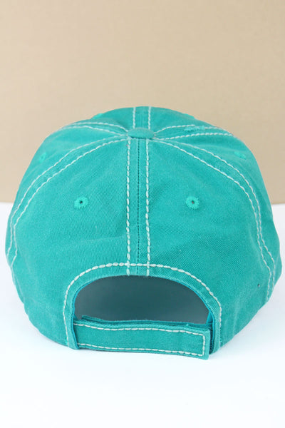 Distressed Turquoise 'Hold Your Horses' Cap