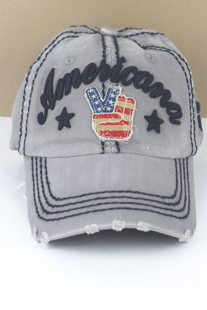 Distressed Light Gray 'Americana' Peace Sign Cap