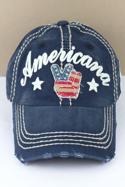 Distressed Navy 'Americana' Peace Sign Cap