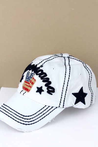 Distressed White 'Americana' Peace Sign Cap