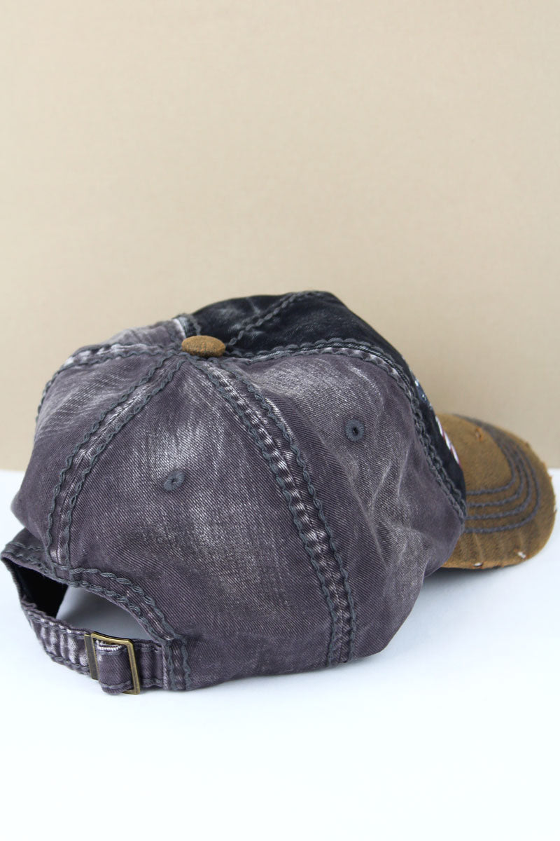 Distressed Black and Dark Gray American Flag Cap