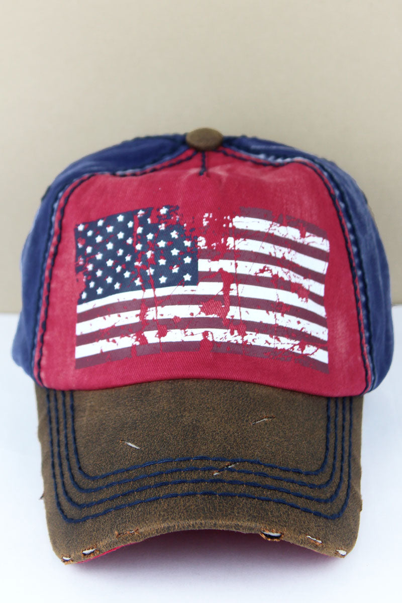 Distressed Red and Navy American Flag Cap