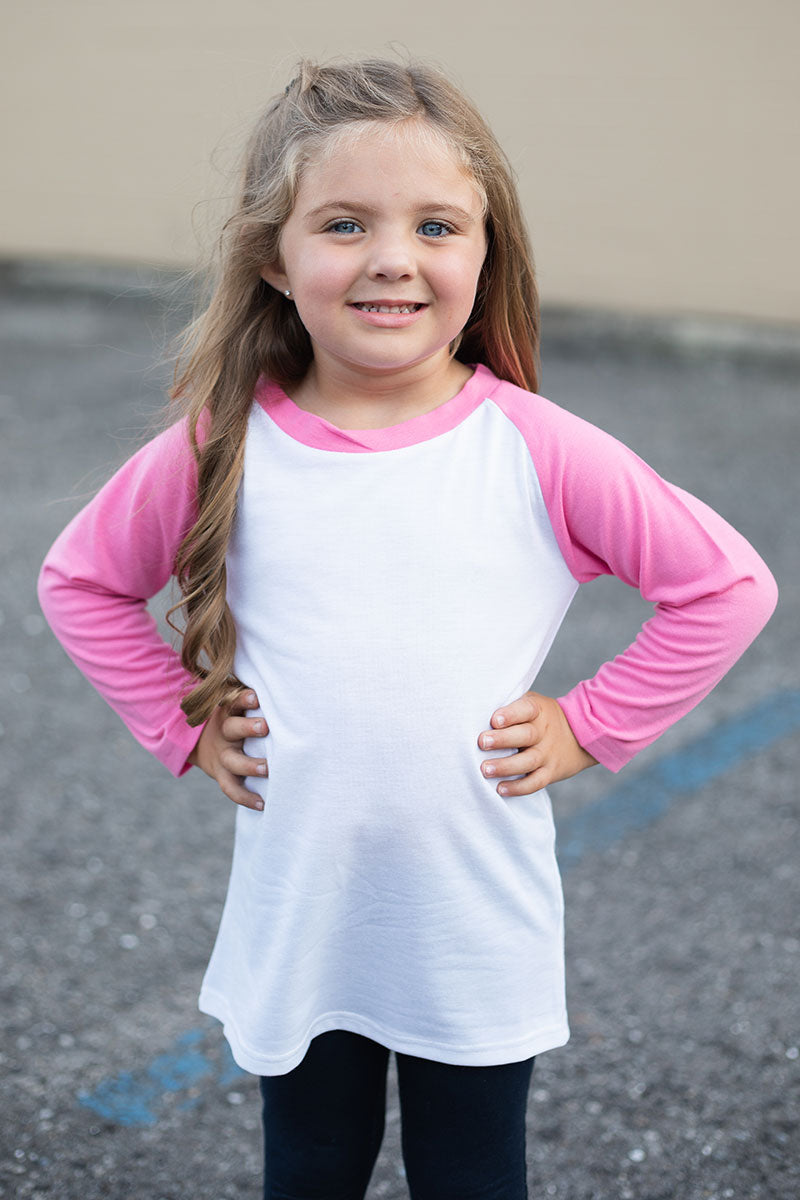 Kid's Hot Pink and White 3/4 Sleeve Raglan Tee
