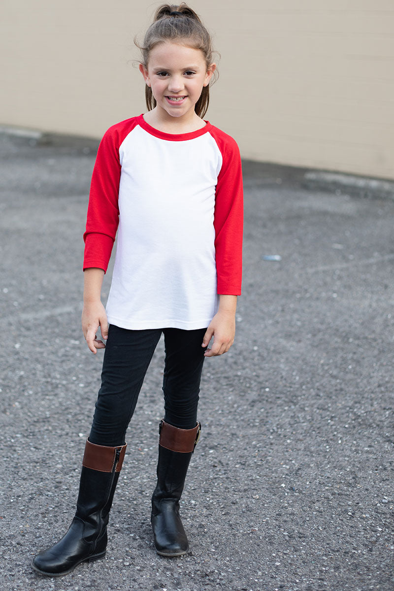 Kid's Red and White 3/4 Sleeve Raglan Tee