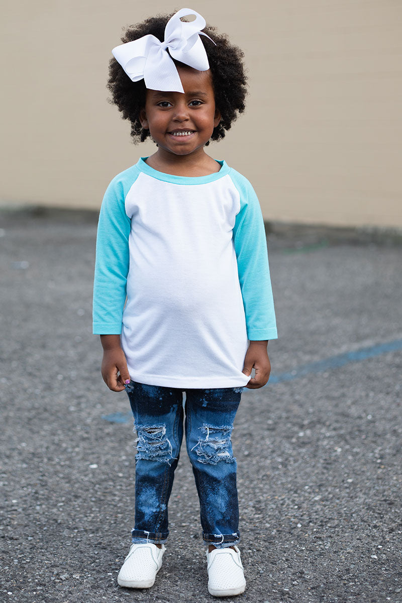 Kid's Tahiti Blue and White 3/4 Sleeve Raglan Tee