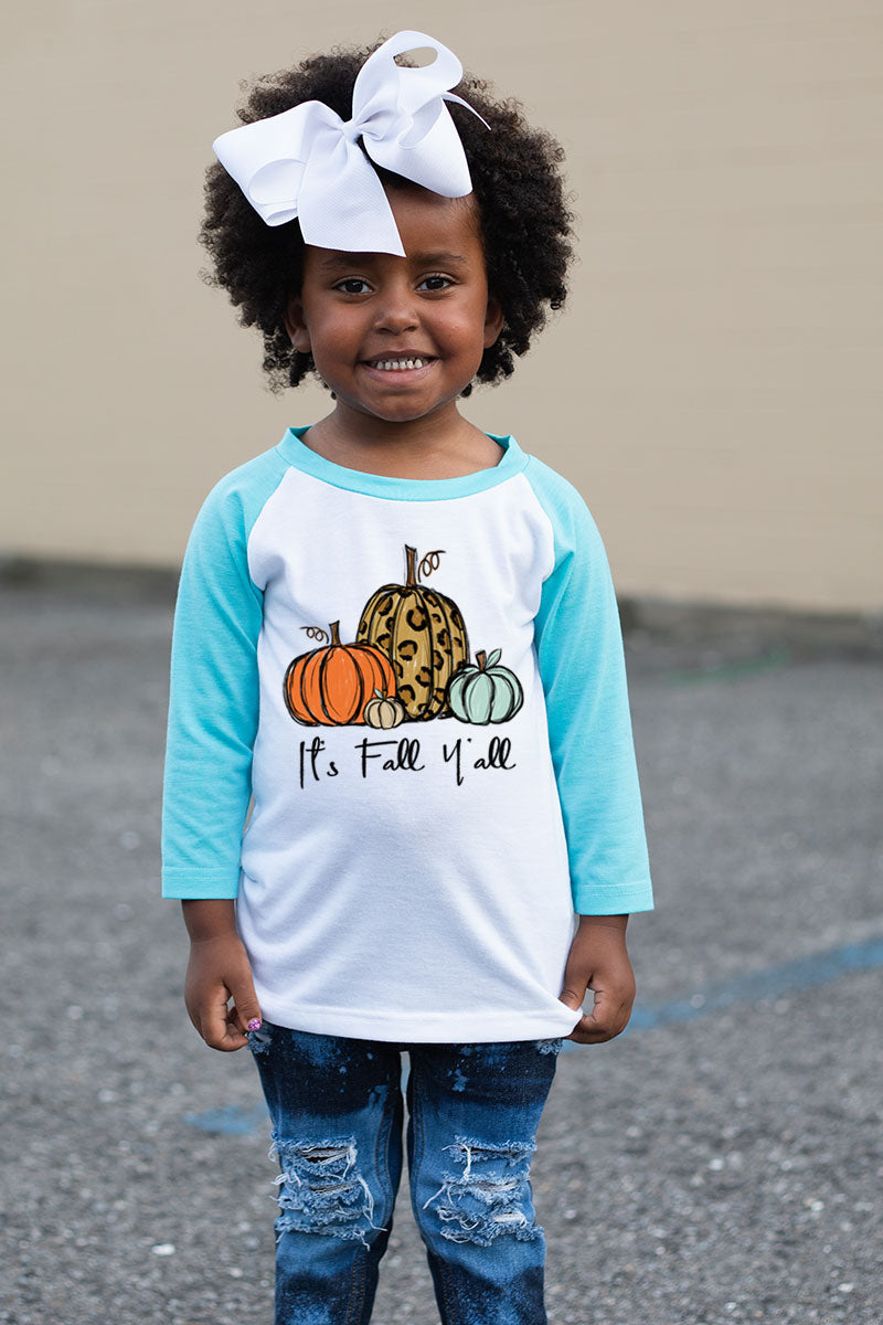 It's Fall Y'all Leopard Pumpkin Trio Kid's 3/4 Sleeve Raglan Tee