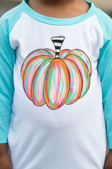 Watercolor Pumpkin Kid's 3/4 Sleeve Raglan Tee