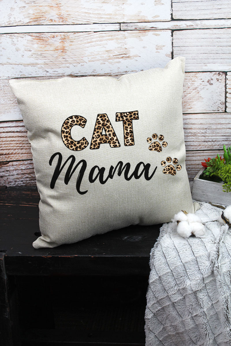 Leopard Cat Mama Decorative Pillow Cover