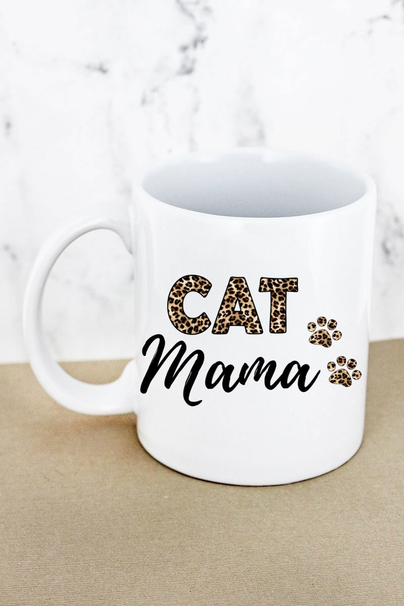 Leopard Cat Mama White Mug