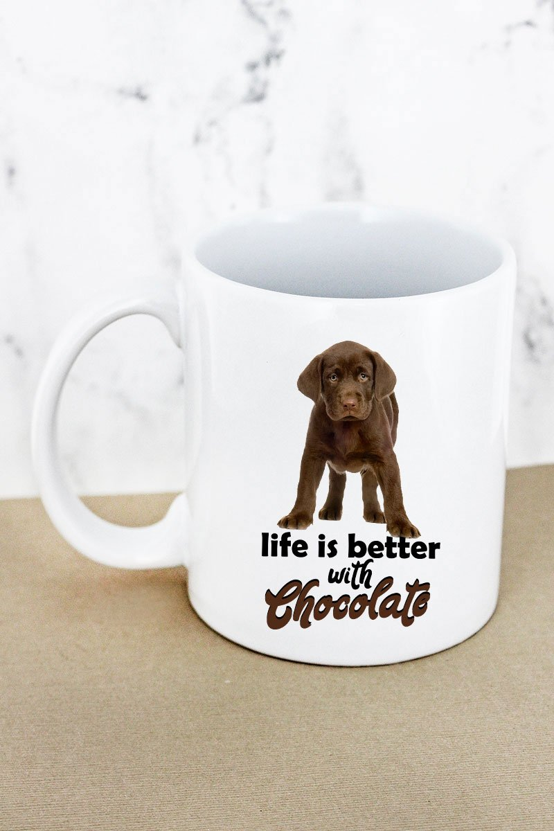 Chocolate Lab Life Is Better White Mug