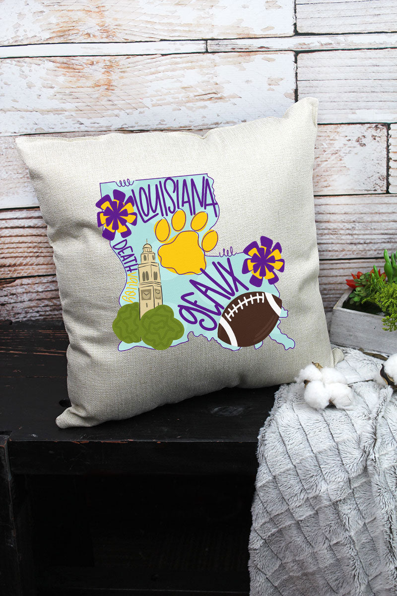 State Louisiana Doodle Decorative Pillow Cover