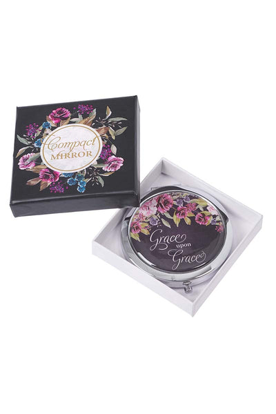 Grace Upon Grace Floral Compact Mirror