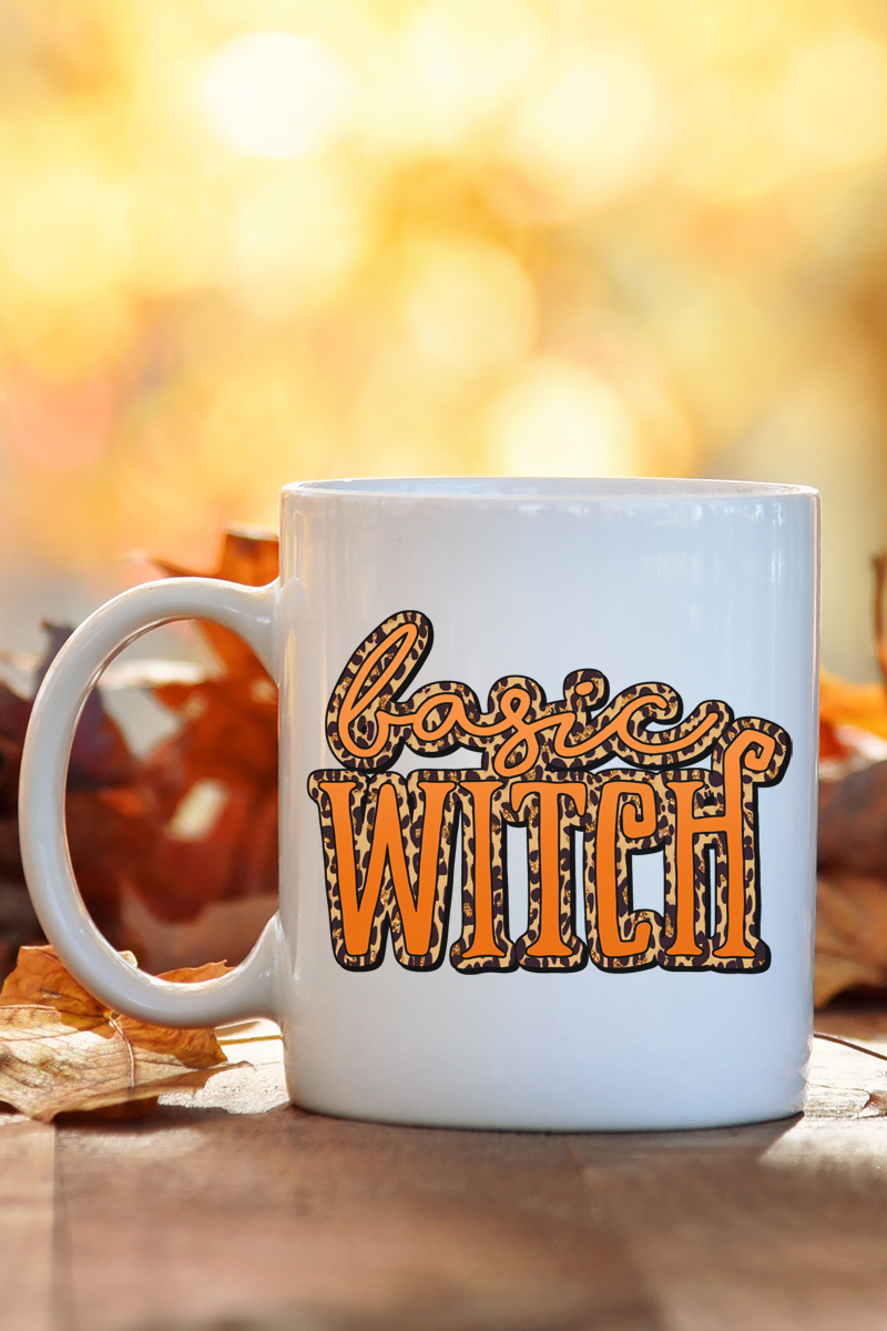 Basic Witch Leopard White Mug
