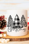 Black Merry Christmas Leopard Trees White Mug