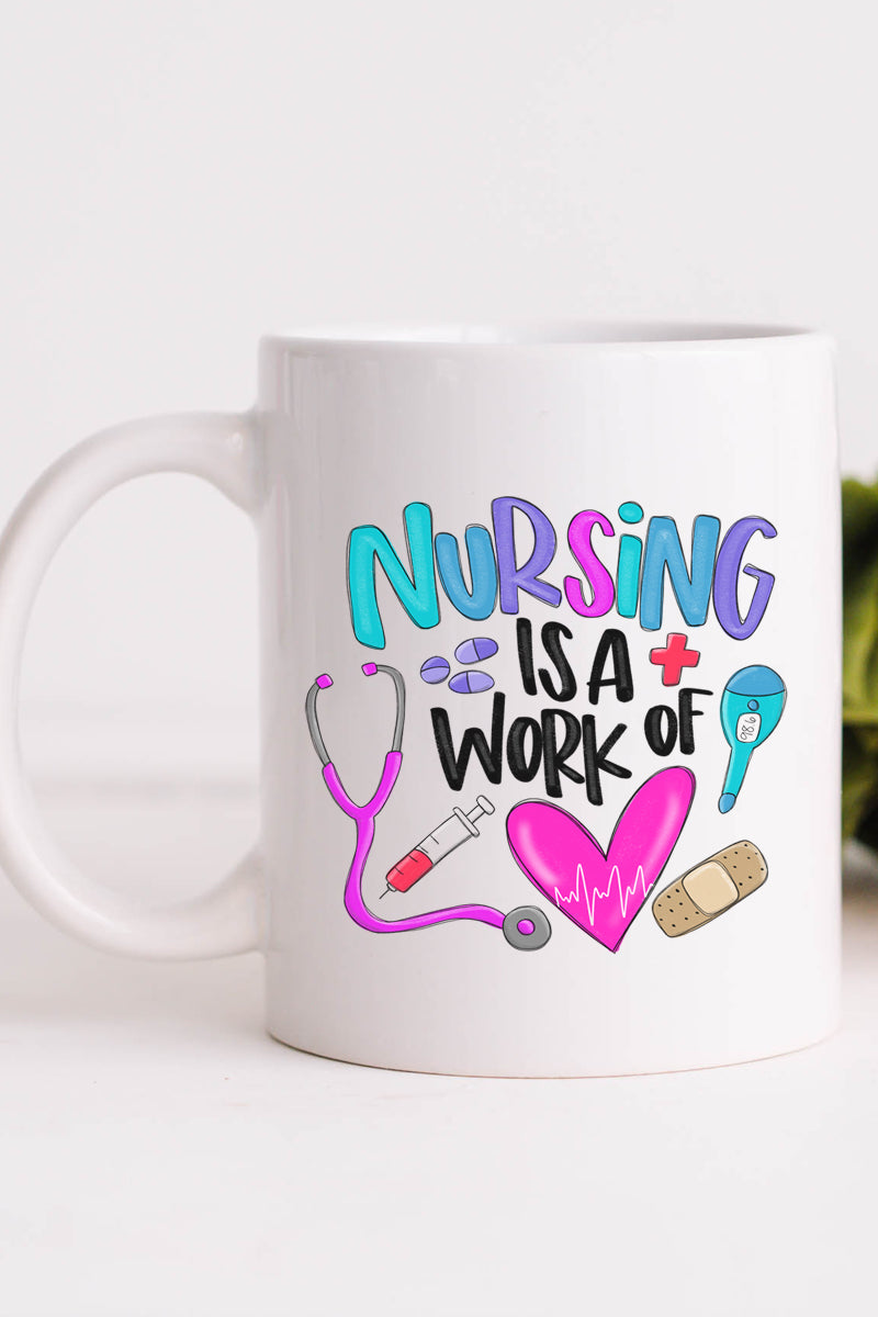 Doodle Nursing Is A Work Of Heart White Mug