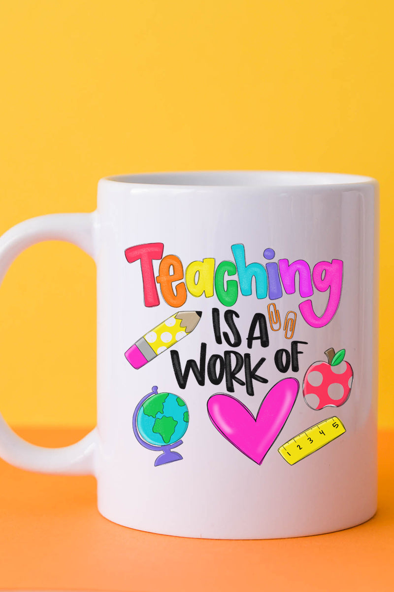 Doodle Teaching Is A Work Of Heart White Mug
