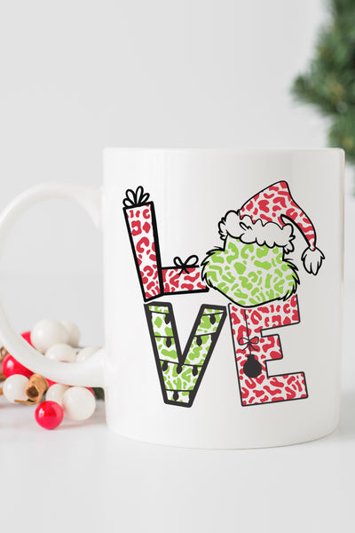 Grinch Love Leopard White Mug