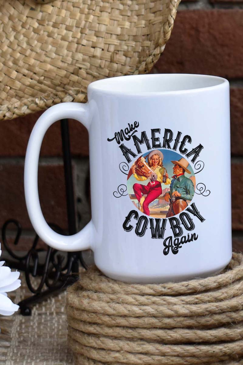 Make America Cowboy Again White Mug