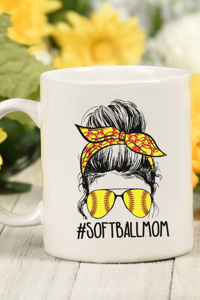 Messy Bun Softball Mom White Mug