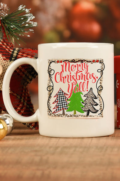 Trees Merry Christmas Y'all White Mug