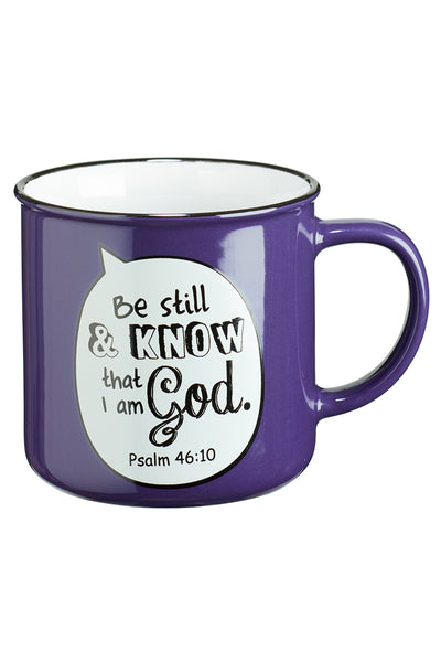 DISCONTINUED! Psalm 46:10 'Be Still' Scripture Bubble Campfire Mug
