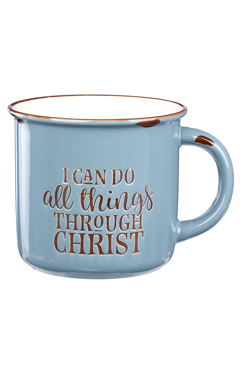 All Things Through Christ Blue Campfire Mug